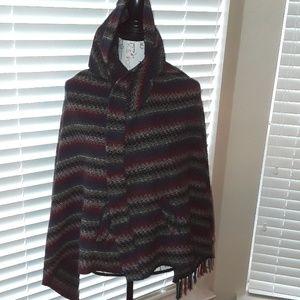 Fringed shawl poncho